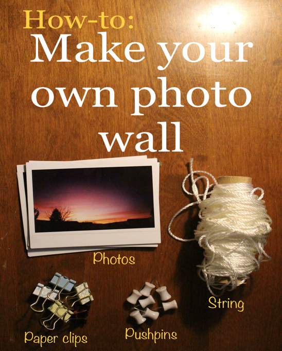 Find out how to make your own DIY photo wall with all your favorite pictures. Making a photo wall is super easy and can be done using things you probably already have lying around the house! #DIY #easy #DIYideas #homedecor #decor #how-to #photos #photowall #wallart #pictures