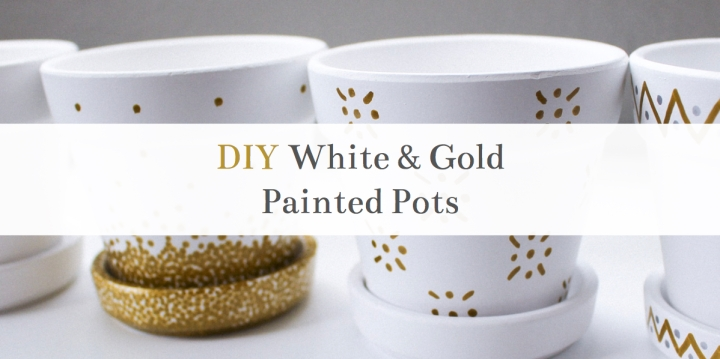 Simple DIY White & Gold Painted Pots